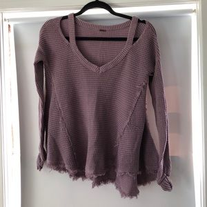 Free People purple thermal with shoulder cut outs